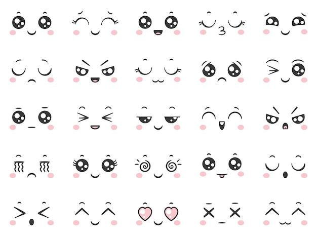 Sorriso de quadrinhos bonito dos desenhos animados doodle emoticons de caractere com expressões faciais.