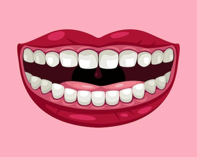 Sorriso de quadrinhos desenhos animados. um sorriso alegre, lábios, dentes, língua.