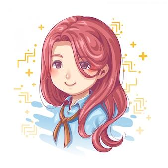 Sorriso do design de personagens femininas bonitas