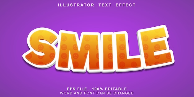 Sorriso editável de efeito de texto