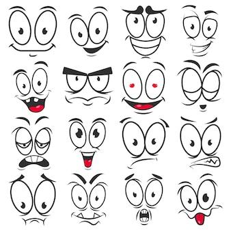 Sorriso emoticons de desenhos animados e emoji enfrenta vetor ícones