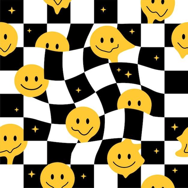 Sorriso engraçado derreter enfrenta padrão sem emenda. ilustração em vetor mão desenhada doodle personagem de desenho animado. rostos de sorriso derretem, ácido, trippy, conceito de impressão de papel de parede de padrão sem emenda de células