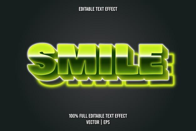 Sorriso estilo neon de efeito de texto editável