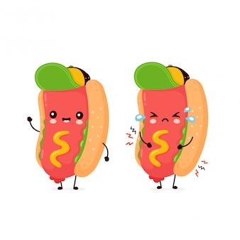 Sorriso feliz bonito e cachorro-quente triste. personagem de banda desenhada plana ilustração ícone do design. isolado no fundo branco. cachorro-quente, conceito de fast-food