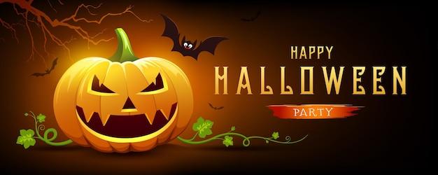 Sorriso feliz de abóbora de halloween e morcego com árvore em fundo de design de banner laranja e preto