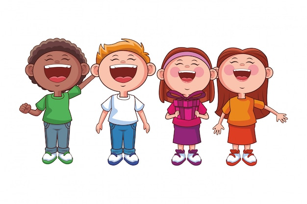 Sorriso feliz de crianças