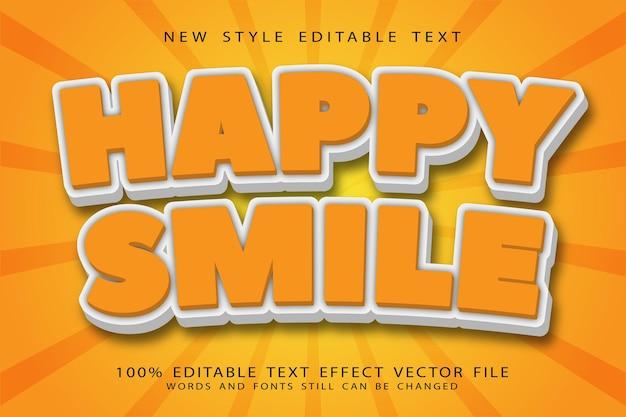 Sorriso feliz, efeito de texto editável em relevo estilo cartoon