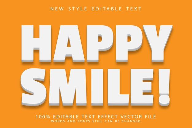 Sorriso feliz, efeito de texto editável em relevo estilo moderno