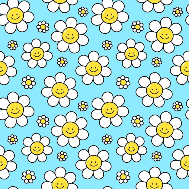Sorriso fofo flores no padrão sem emenda de fundo azul