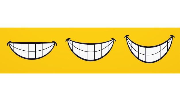 Sorriso, lábios sorridentes, boca, emoções de rosto alegre. conjunto de desenhos animados rindo com os dentes.