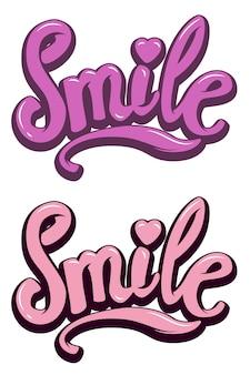 Sorriso. mão desenhada letras frase sobre fundo branco. ilustração