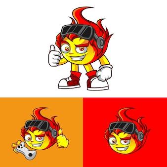 Sorriso mascote de jogo de personagem de bola de fogo