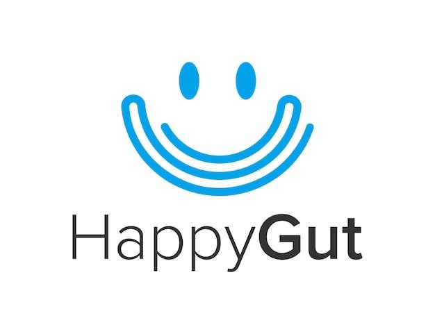 Sorriso, rosto feliz, com intestino simples, criativo, geométrico, elegante, moderno, design de logotipo