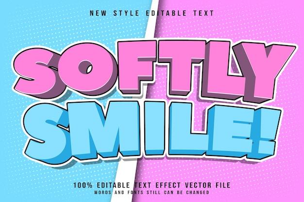 Sorriso suavemente efeito de texto editável em relevo estilo cômico