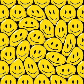 Sorriso trippy engraçado derreter ícone de pixel art de rosto. projeto de ilustração gráfica do vetor doodle dos desenhos animados. rosto sorridente trippy, psicodélico, techno pixel art, 8 bits, impressão estilo 16 bits para pôster, conceito de camiseta