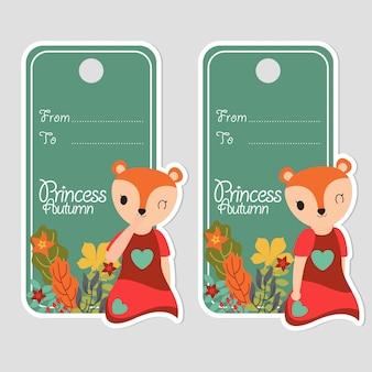 Sorrisos de menina cute fox e flores adequadas para rótulo de aniversário