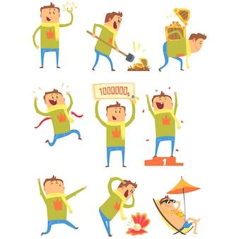 Sorte homem tendo boa sorte e golpe súbito da fortuna série de ilustrações em quadrinhos