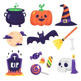 Sorteio de coleção de elementos de halloween