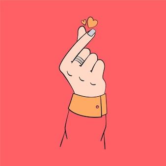 Sorteio de coração de dedo
