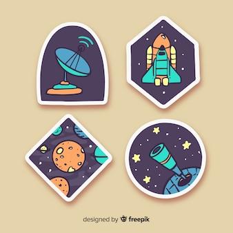 Sorteio de desenhos animados com coleção de adesivo de espaço