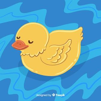 Sorteio de desenhos animados com pato de borracha