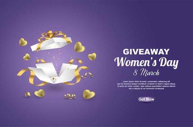 Sorteio de feliz dia das mulheres com caixa de presente e balão de ouro do amor