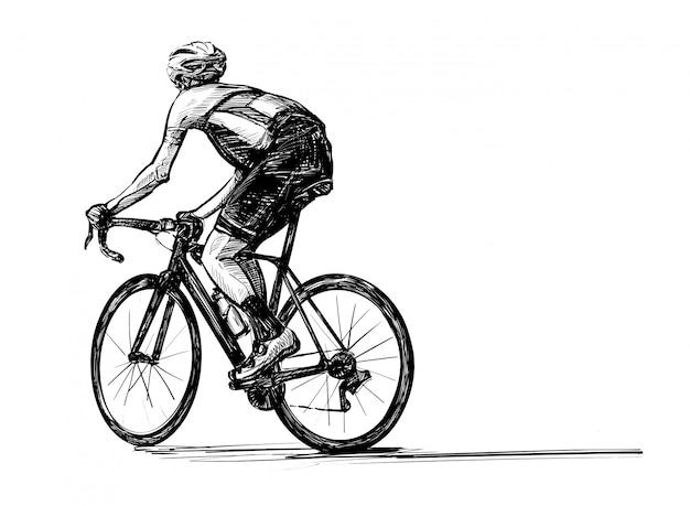 Sorteio de mão da competição de bicicleta
