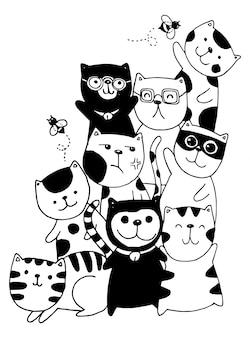 Sorteio de mão preto e branco, caracteres de gato definir estilo doodles ilustração coloração para crianças.