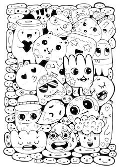 Sorteio de mão preto e branco, estilo de personagens de monstro doodles