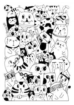 Sorteio de mão preto e branco, rabiscos de estilo de personagens de gato