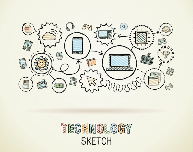 Sorteio de mão tecnologia integrar ícones definido no papel. ilustração infográfico desenho colorido. pictogramas de doodle conectado, internet, digital, mercado, mídia, computador, conceito interativo de rede