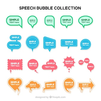 Sortimento de bolhas de fala de cores e formas