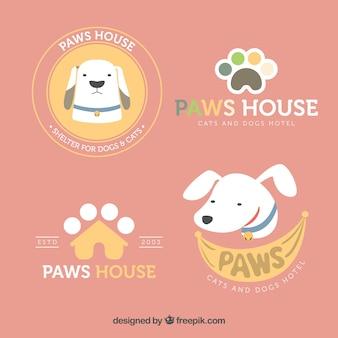 Sortimento, quatro, cão, logotipos, apartamento, desenho