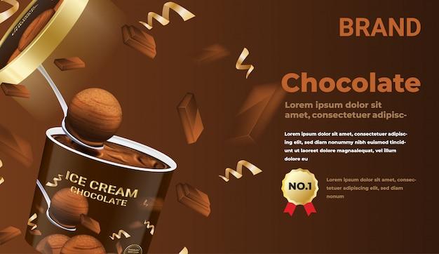 Sorvete aberto com pedaços de chocolate e confetes