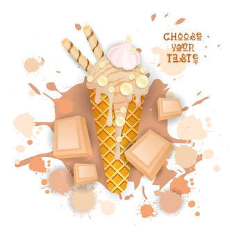 Sorvete branco cone de chocolate colorido sobremesa ícone escolha seu taste cafe poster