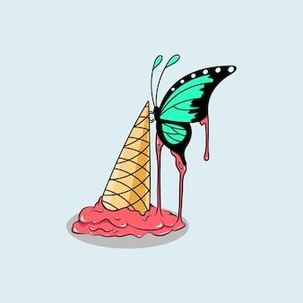 Sorvete com buterfly