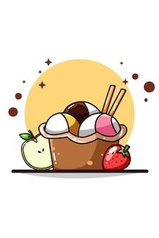 Sorvete com ilustração de morango e maçã