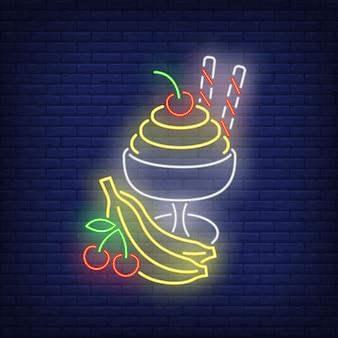 Sorvete com sinal de néon de frutas.
