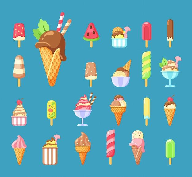Sorvete, conjunto de ilustrações de desenhos animados de sobremesa de verão