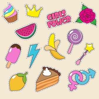Sorvete, coroa de princesa e adesivos pirulito de doces. patches de moda menina