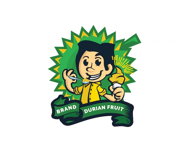 Sorvete criativo durian fruit logo