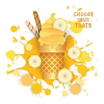 Sorvete de banana cone colorido sobremesa ícone escolha seu sabor café cartaz