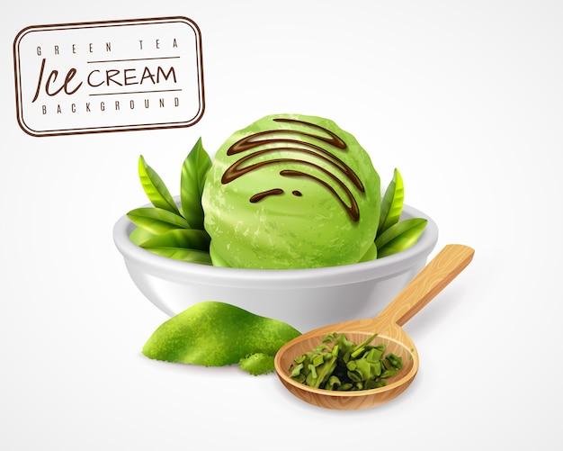 Sorvete de chá verde realista com moldura de carimbo