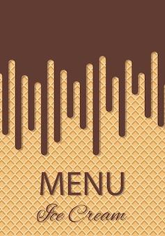 Sorvete de chocolate que flui sobre a textura do waffle