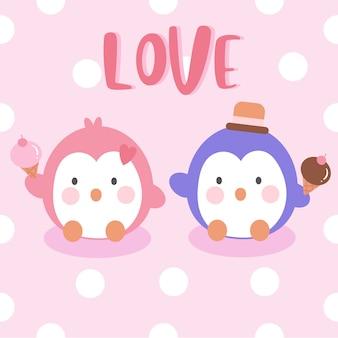 Sorvete de exploração de casal de pinguins