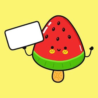 Sorvete de melancia fofo e engraçado com pôster
