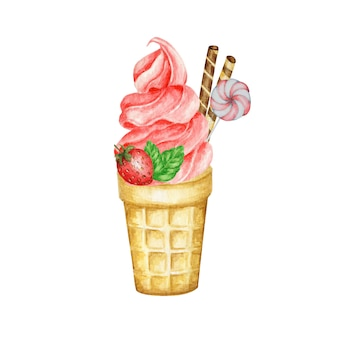 Sorvete de morango no cone waffle decorado com waffles de chocolate, frutas, biscoitos e doces. ilustração em aquarela de sorvete de frutas vermelhas isolada