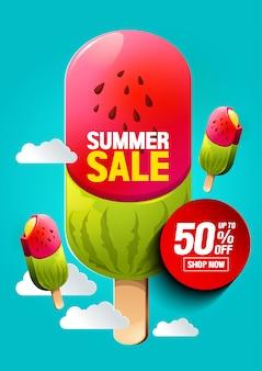 Sorvete de venda de verão