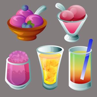 Sorvete e conjunto de bebidas
