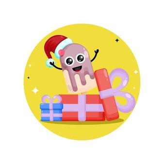 Sorvete em bastão, presente de natal, logotipo de personagem fofa